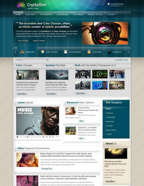 Crystalline March 2010 Joomla Template