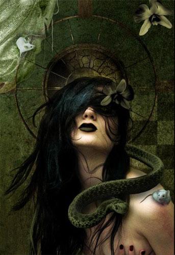 belle-image-sepent-souris-femme-fleur-flora