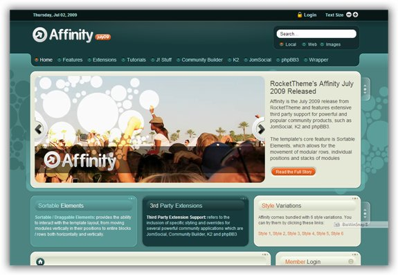 Affinity July 2009 Joomla Template